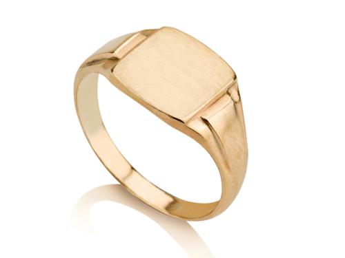 טבעת חותם לגבר או לאישה מרובעת קלאסית חלקה