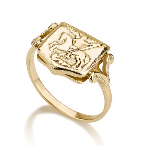 טבעת חותמת מגן זהב 14K עם תבליט מרכזי של סוס ופרש