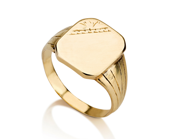 טבעת חותם זהב קלאסית מלבנית עם חריטה