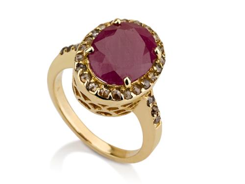 טבעת דיאנה זהב 14Kמשובצת אבן רובי ויהלומים