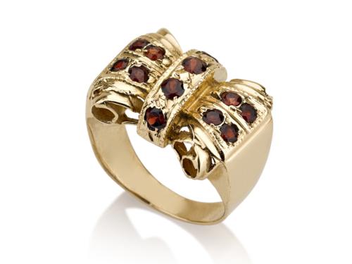 טבעת סרט פפיון וינטאג' משובצת גרנט אדום
