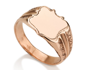טבעת חותם מגן זהב 14K חלקה