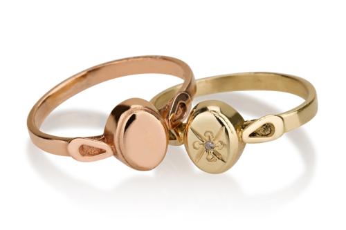 שתי טבעות חותם אליפסה עדינות זהב צהוב או אדום עם או בלי יהלום
