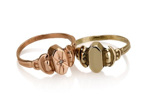 טבעת חותם וינטאג׳ קטנה זהב 14K עם/בלי יהלום