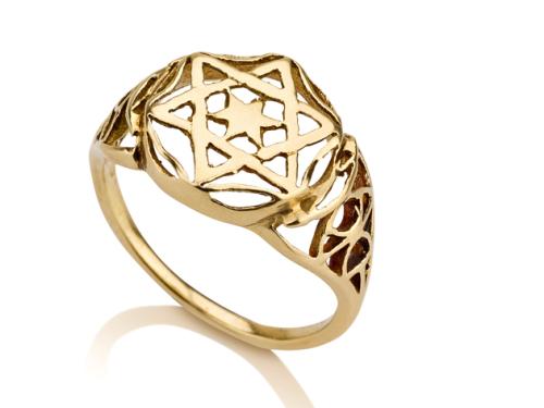 טבעת חותם מגן דוד זהב 14 קראט