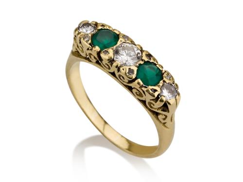 טבעת זהב 14K בסגנון ויקטוריאני משובצת יהלומים ואמרלדים