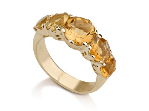 טבעת זהב בסגנון ויקטוריאני משובצת אבני ציטרין