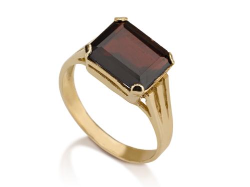 טבעת חותם זהב 14K טבעת גרנט מלבנית