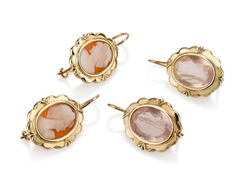 עגילי זהב תלויים אובליים בסגנון ישן בשיבוץ לברדורייט וצדף קמאו