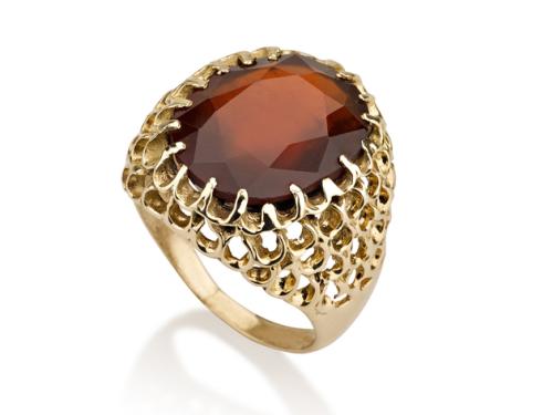 טבעת זהב 14K מיוחדת בסגנון ישן משובצת אבן גרנט
