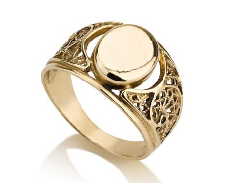 טבעת זהב 14K מיוחדת בסגנון חותם אובלי