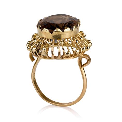 טבעת זהב מיוחדת גדולה בסגנון עתיק בשיבוץ סמוקי טופז אפורה