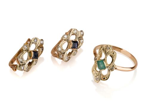 עגילי זהב וטבעת בסגנון עתיק משובצים אבני חן