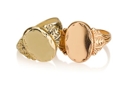 טבעת חותם אובלית זהב טבעת גדולה