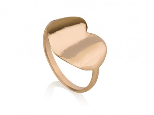 טבעת לב שטוח זהב 14 קראט