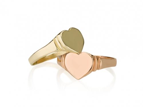 טבעת לב לזרת זהב 14 קראט
