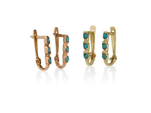עגילי זהב 3 אבנים תלויים צמודים עדינים