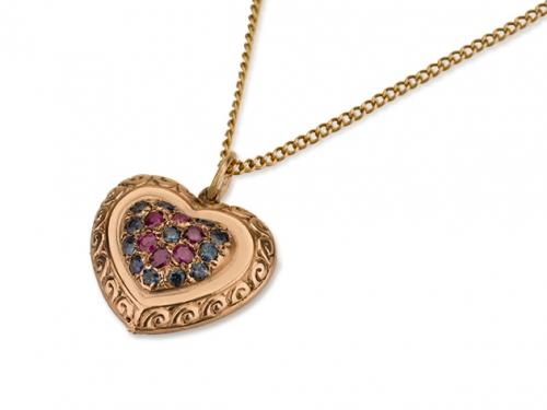 תליון לב זהב משובץ אבנים יקרות
