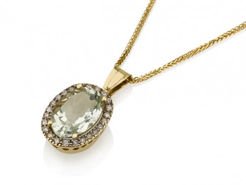 תליון זהב 14K קלאסי משובץ אבן חן אובלית