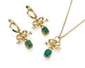 סט תכשיטים עגילים תלויים פפיון ותליון פפיון עם אבן ירוקה