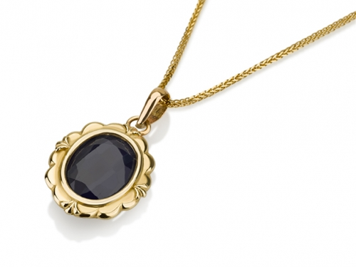 תליון זהב וינטאג׳ אבן כחולה אובלית
