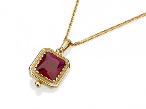 תליון זהב מלבן בשיבוץ אבן רובי זירקון אדומה