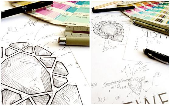 סרטוטים של תהליך יצירת הלוגו של תכשיטי עידית תל אביב