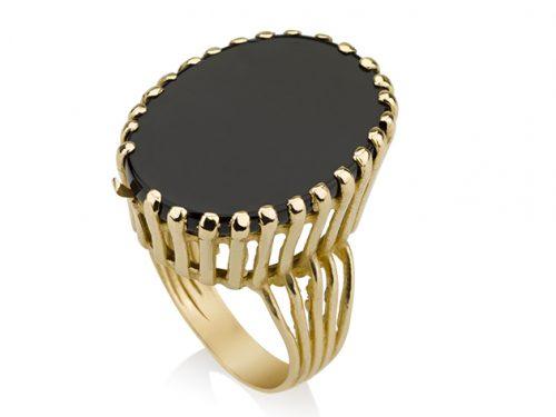 טבעת אוניקס שחור אובלית מוגבהת בסגנון וינטאג׳ עשוייה זהב 14 קראט