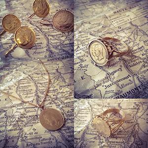 קולאז׳ תמונות של תכשיטי מטבעות עתיקים מזהב