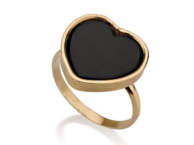 טבעת לב זהב משובצת אבן שחורה
