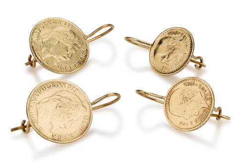 עגילי זהב 14K תלויים מטבע גדול/קטן