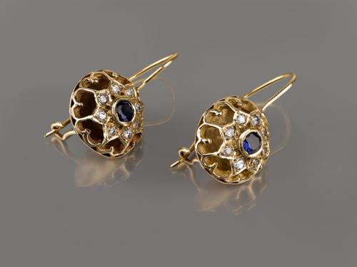 עגילי זהב עגולים תלויים בסגנון ישן ספיר כחול ויהלומים