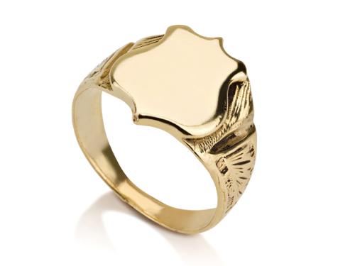 טבעת חותם מגן זהב 14 קראט חלקה