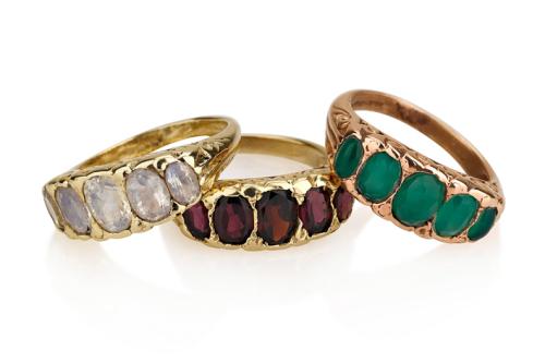 3 טבעת זהב מלכותיות בסגנון ויקטוריאני 5 אבנים בצבעים שונים